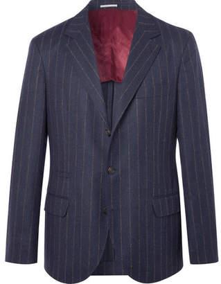 Brunello Cucinelli Navy Chalk-Striped Wool Suit Jacket