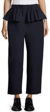 Sara Lanzi Ruffle Canvas Cropped Pants