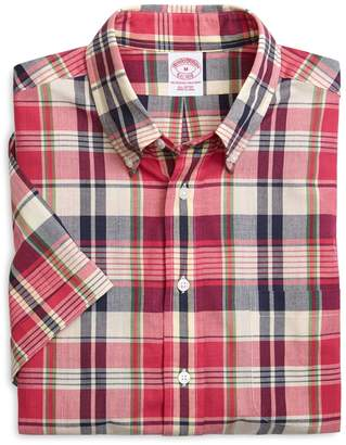 Brooks Brothers Regular Fit Plaid Madras Short-Sleeve Sport Shirt