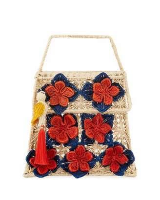 Mercedes Salazar Iraca Palm Threaded Straw Top-Handle Bag