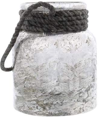 Brimfield & May Modern Frosted Glass Lantern With Jute Accent, Gray With White
