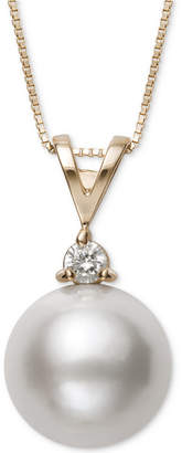 Belle de Mer Cultured Freshwater Pearl (11mm) & Diamond (1/10 ct. t.w.) Pendant Necklace in 14k Gold