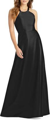 Alfred Sung Lace-Up Back Sateen Twill Gown