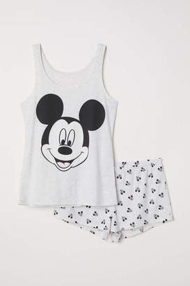 H&M Pajama Tank Top and Shorts - Light gray/Mickey Mouse - Women