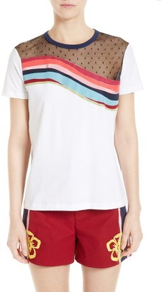 Women's Red Valentino Rainbow Wave Jersey Tee $350 thestylecure.com