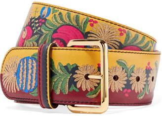 Printed Leather Waist Belt - Yellow