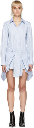 Alexander Wang Blue and White Striped Front Tie Shirt Dress