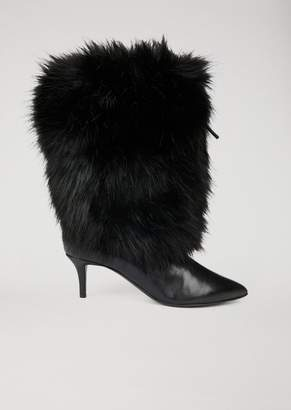 Emporio Armani Nappa Leather Boots With Faux-Fur Covered Leg