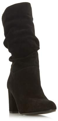 13164b461e03 at Debenhams · Dune Black Suede  Rafaellie  Mid Block Heel Calf Boots