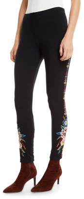 Johnny Was Darielle Leggings with Floral Embroidery