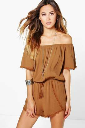 boohoo Crochet Trim Off The Shoulder Playsuit