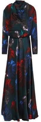 Vionnet Floral-Print Silk-Satin Maxi Dress