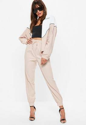 Missguided Nude Shell Suit Pants