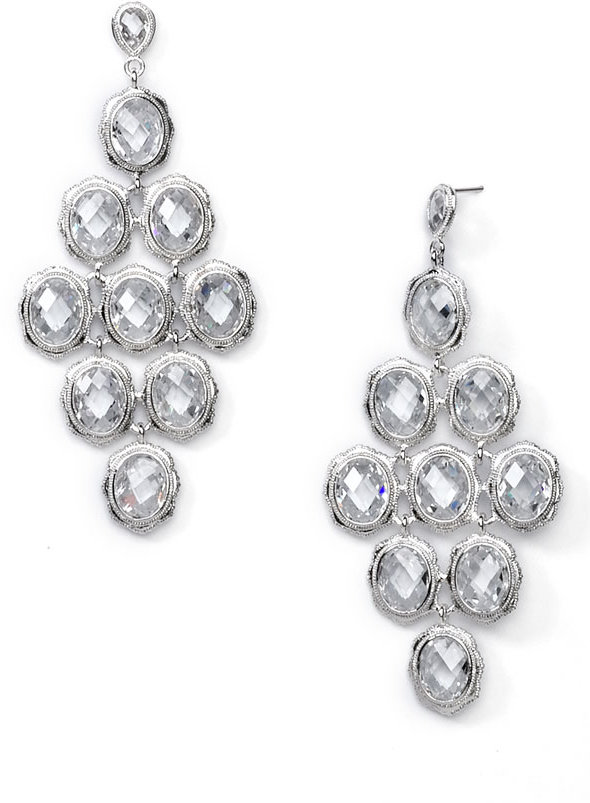 Nadri Tiered Faceted Chandelier Earrings