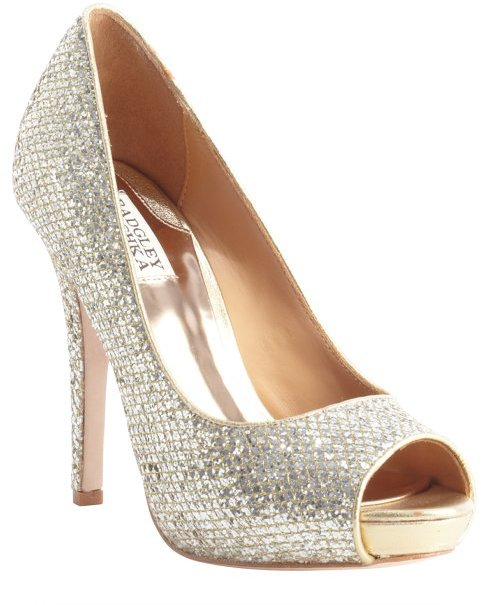 Badgley Mischka gold and silver sequence 'Humbie' peep toe platform pumps