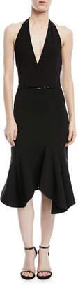 Halston Halter Flounce Dress w/ Embellished Waist