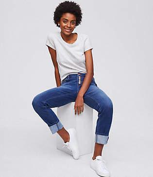 LOFT Petite Boyfriend Jeans in Rich Mid Indigo Wash