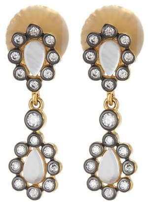 Freida Rothman 14K Gold & Rhodium Plated Sterling Silver Double Mother of Pearl CZ Cluster Drop Earrings