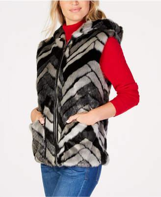 Steve Madden Chevron Faux-Fur Hooded Vest