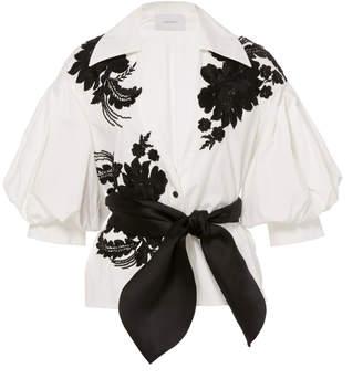 Marchesa Floral Applique Embellished Cotton Blouse