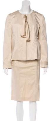 Valentino Stitch-Accented Skirt Suit