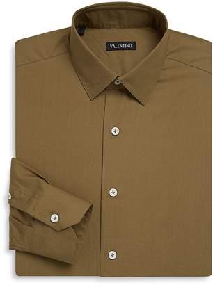 Valentino Men's Regular Fit Solid Cotton Dress Shirt