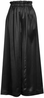 Fendi Satin High-Waisted Wide Leg Pants