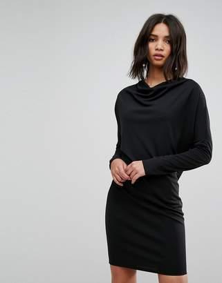 Asos Crepe Column Dress with Drape Shoulder & Batwing Sleeves