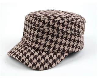 608667f7e0df0 Pop Fashionwear Inc Women s Hounds Tooth Checked Military Cadet Style Hat  305HT