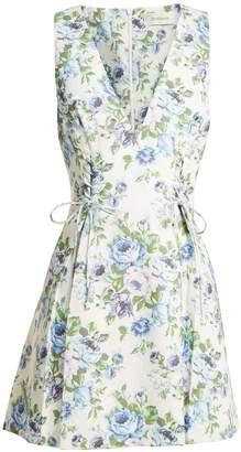 Zimmermann Breeze floral-print lace-up linen dress