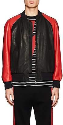 Neil Barrett Men's Lightning-Bolt Leather Varsity Jacket