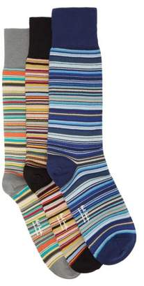 Paul Smith Pack Of 3 Signature Stripe Cotton Blend Socks - Mens - Multi