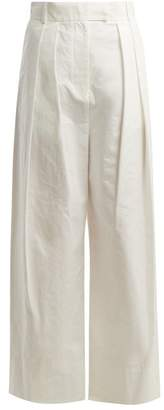 Awake High Rise Wide Leg Trousers - Womens - White