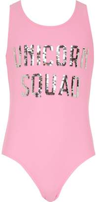 River Island Girls pink moving sequin swimsuit