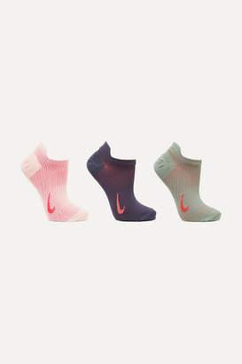 Nike Everyday Plus Set Of Three Dri-fit Stretch-knit Socks - Purple