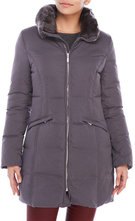 Anne Kleinanne klein Down Blend Coat with Removable Faux Fur Trim
