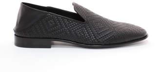 eed7cfed7c9 Jimmy Choo THAME C Black Embossed Diamond Weave Leather Fabric Slipper