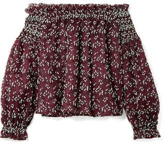 Giambattista Valli Off-the-shoulder Embroidered Cotton-blend Tulle Blouse - Burgundy