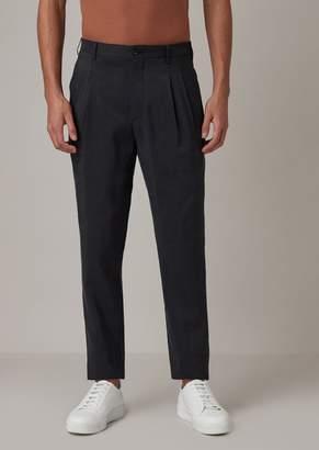 Giorgio Armani Silk Blend Twill Pants With Pleats