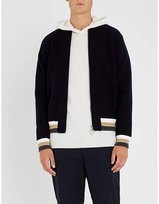 Eleventy Striped wool varsity jacket