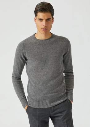 Emporio Armani Crew Neck Sweater In Single Jersey Cashmere