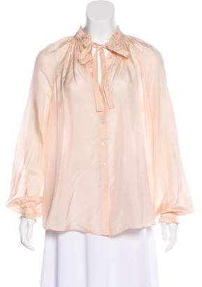 Elizabeth and James Silk Button-Up Blouse