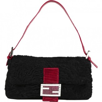 Fendi Baguette Black Mongolian Lamb Handbags