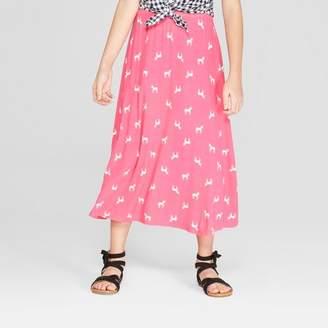 Cat & Jack Girls' Unicorn Knit Maxi Skirt Magenta