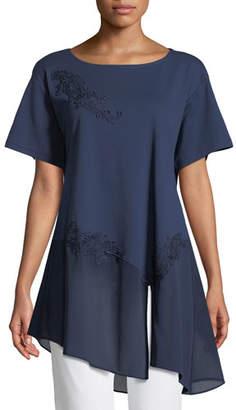 Joan Vass Chiffon-Trim Floral-Applique Tunic, Plus Size
