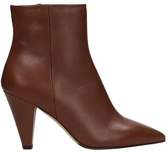 The Seller Pointed Toe Brown Calf Leather Ankle Boots