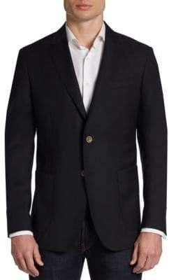 Saks Fifth Avenue BLACK Slim-Fit Wool Two-Button Blazer