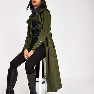 River Island Khaki faux suede belted trench coat