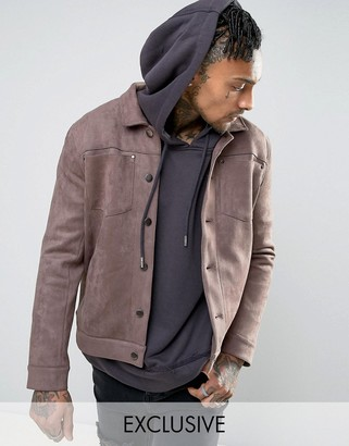 Mennace Faux Suede Western Jacket In Light Brown