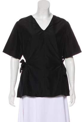 Sara Lanzi Tie Accent Short Sleeve Top